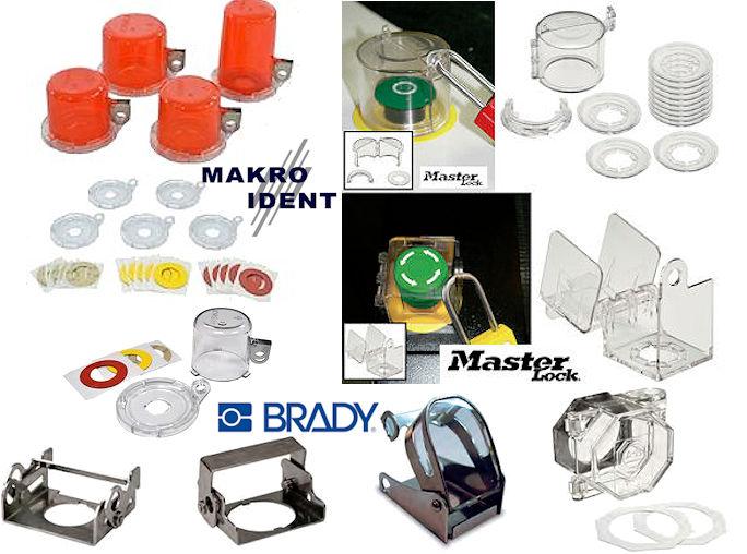 sicherheitsabdeckungen Sicherheits-Verriegelungen für Notaus-, Drehschalter und Drucktasten